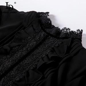 Image 5 - LD LINDA DELLA Pista di Modo Maxi Vestiti Delle Donne del Merletto Del Manicotto Lungo DELLA Rappezzatura Delle Increspature Dellannata Vestito Nero Elegante Vestito Da Partito