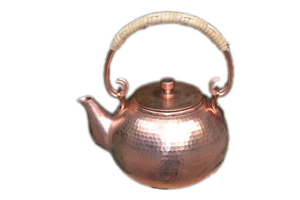 Смягчения воды красный Медь чайник 1.7l ручной работы свист Чайники