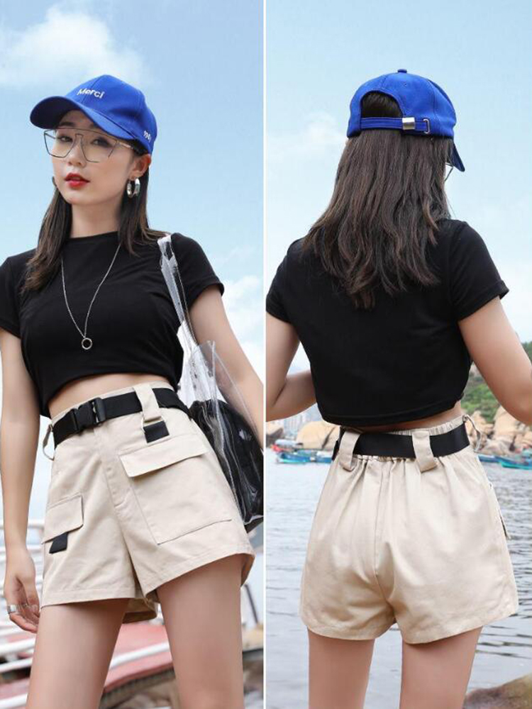 Shorts Women Safari Style Hot Elastic Waist Cargo Short Pants With Belt 2019 Plus Size Summer Army Green High Waist Shorts