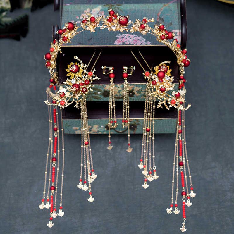 HIMSTORY レトロな中国風の伝統的なブライダルヘッドドレスヘアピン赤真珠ゴールドロングタッセルカチューシャウェディングアクセサリー
