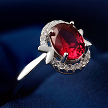 CZ 925 sterling-silver-jewelry Ring charming lady  big Red Diamant Wedding Rings Vintage Engagment AAA Zircon Jewelry