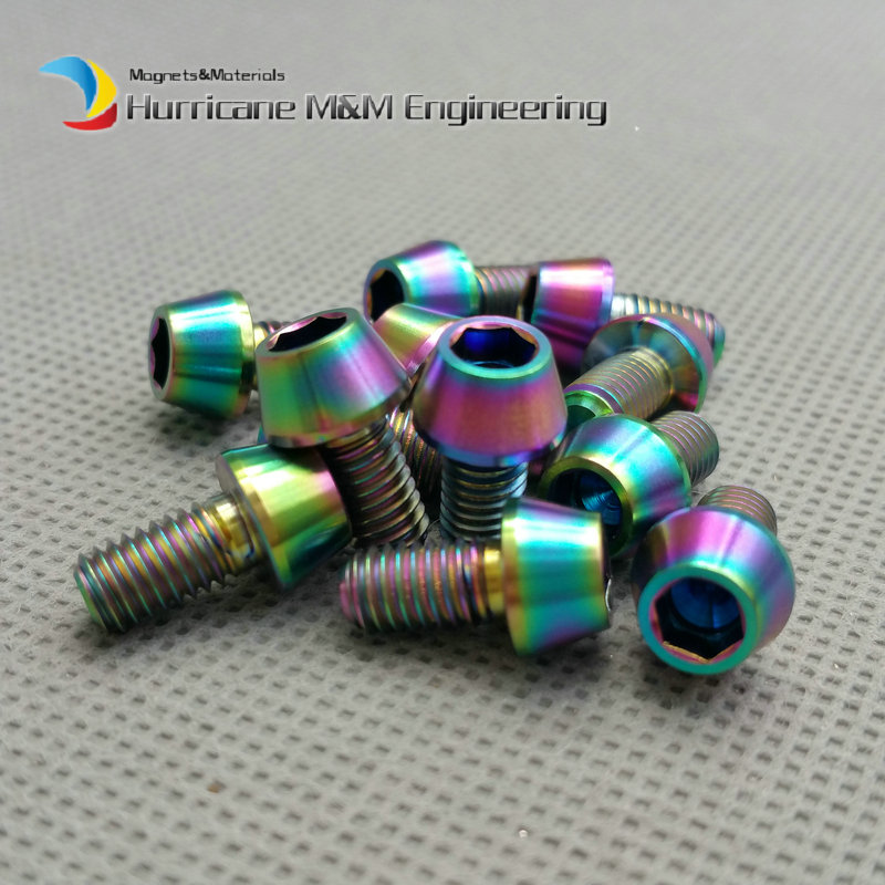 Wholesale M5 M5x9mm Ti Bolt Titanium Bolts Ti Color Gold Color Multicolor  Hex Cone Head Titanium screw Ti Fastener 50/100pcs