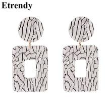 Acrylic Geometric Square Drop Earrings For Women 2019 New Designer Korean Statement Big Trendy Jewelry