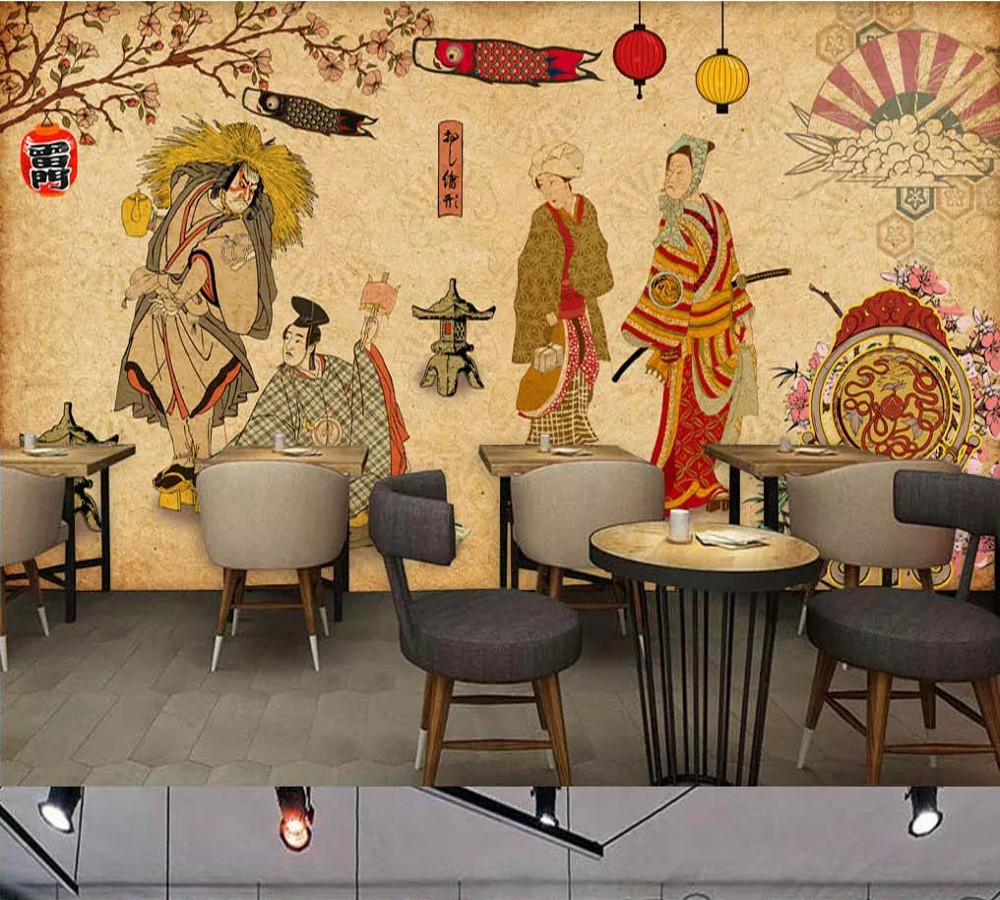 Free Shipping Custom Wallpaper Mural Retro Vintage Japanese Restaurant Sushi Shop Background Wall Painting Decoration 10 20feet 300 600cm photography background boats dock house wallpaper free shipping
