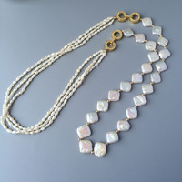 Natural pearl necklace female fashion Baroque style personality wild simple multi use sweater chain