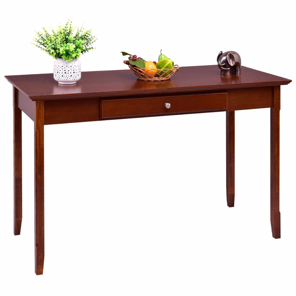 Goplus Wood Console Table Student Writing Desk with One Drawer Entryway Living Room Furn ...