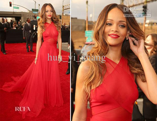 free shipping Celebrity Rihanna 2018 the Grammy Awards Red Carpet Sheer Halter Real Images Poly Chiffon   bridesmaid     Dresses