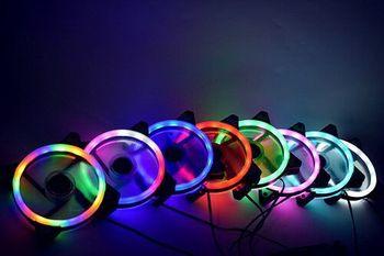 Ventilador de refrigeración del chasis de la PC, ventilador enfriador de 12cm azul/rojo/Verde/Blanco/colorido Aurora Halo Eclipse LED