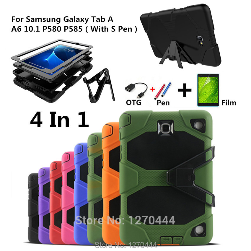 For Samsung Galaxy Tab A A6 10.1 P580 P585 Tablet Heavy Duty Rugged Impact Hybrid Case Kickstand Protective Cover+film+pen+OTG tire style tough rugged dual layer hybrid hard kickstand duty armor case for samsung galaxy tab a 10 1 2016 t580 tablet cover