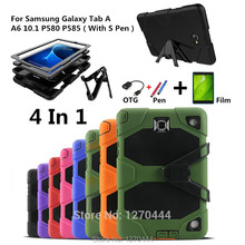 For Samsung Galaxy Tab A A6 10.1 P580 P585 Tablet Heavy Duty Rugged Impact Hybrid Case Kickstand Protective Cover+film+pen+OTG