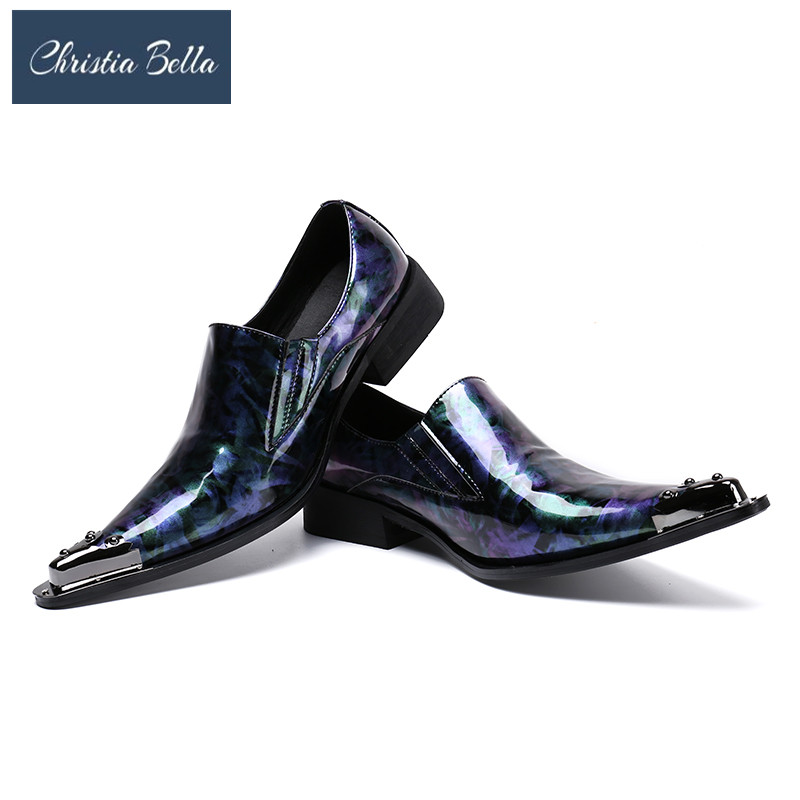 Christia Bella Italy Fashion Men Party Blue Wedding Handmade Loafers Men Shiny Patent Leather Men Dress Shoes Summer Slippers