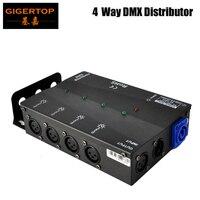 다중 설치 방법 4 채널 dmx 분배기  모든 무대 조명  3 핀 또는 5 핀을위한 넓은 입력 전원 공급 장치
