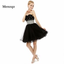 Short sweet 16 dresses 2017 Real Photo Black A line Beaded Tulle Lace up back Knee length Short Homecoming Dresses High Quality(China)