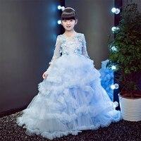 Платья для девочек с аппликацией в виде облаков; коллекция 2018 года; платье принцессы; костюм для маленьких девочек; платья для свадебной веч