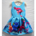 Troll costumes Girls Princess pleated Dress casual blue size 3 4 5 6 7 8 9 years