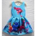 Vasculham trajes Meninas Princesa plissada Vestido ocasional azul tamanho 3 4 5 6 7 8 9 anos
