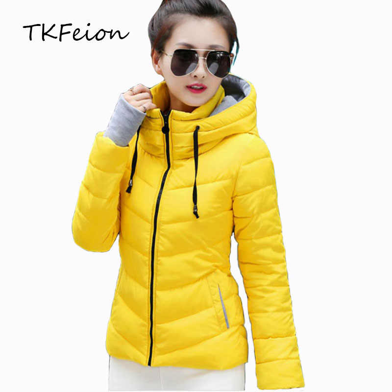 Womens Hooded Jassen Warme Dikke 2018 Herfst Winter Dames Slanke Parka Gewatteerde Mode Stand Kraag Vrouwelijke Katoen Gewatteerde Jas Plus