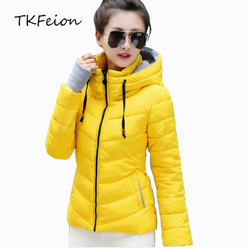 Womens Hooded Jackets Warm Thick 2018 Autumn Winter Ladies Slim   Parka   Padded Fashion Stand Collar Female Cotton Padded Coat Plus