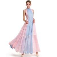 Summer Chiffon Dress Women 2017 New Bohemian Mixed Colors Sleeveless Strapless Big Swing Maxi Dress Casual