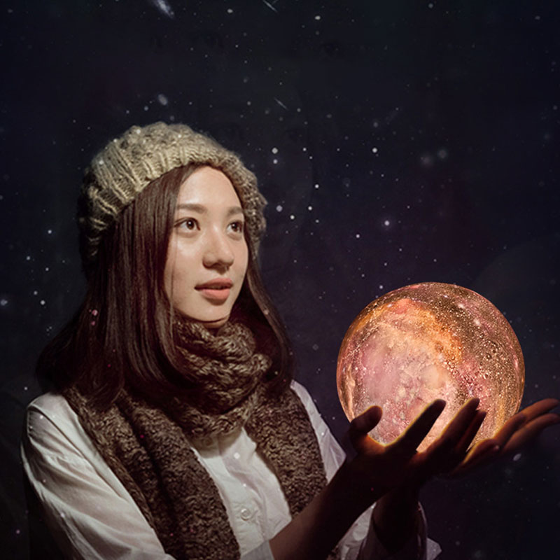 лучшая цена ZINUO Print Starry Sky Moon Planet Lamp 7 Color Change Rechargable Moon Night Light Touch Switch 15CM Starry Sky Projector Lamp