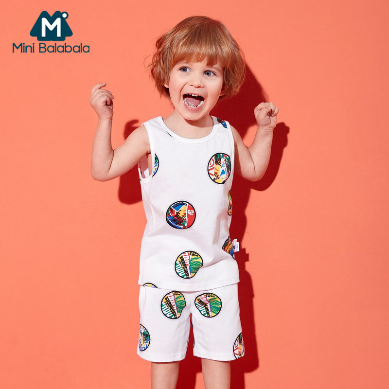 Mini Balabala Toddler Boy 2-Piece 100% Cotton Printed Tank Top + Sports Pull-on Shorts Short Pants Children Kids Outfits Summer