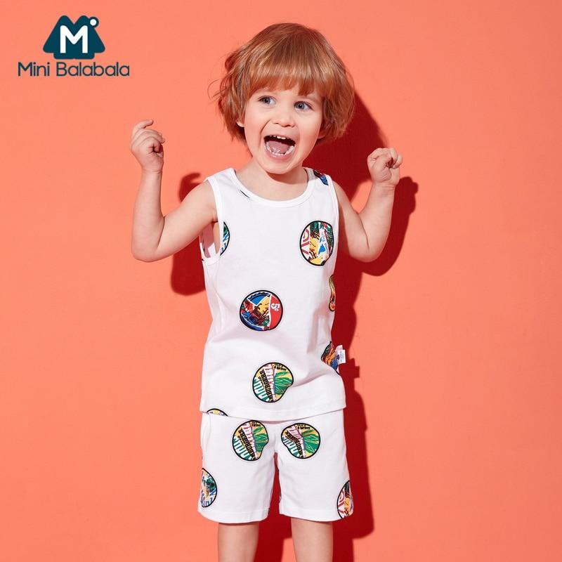 Mini Balabala Toddler Boy 2-Piece 100% Cotton Printed Tank Top + Sports Pull-on Shorts Short Pants Children Kids Outfits Summer