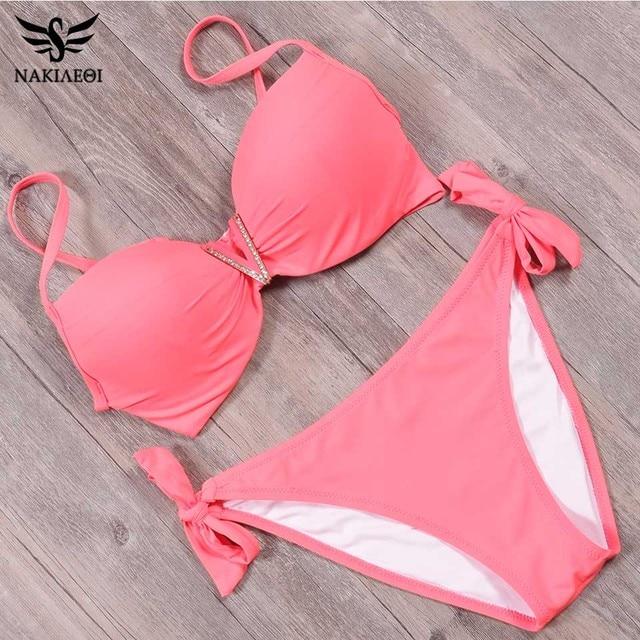NAKIAEOI 2018 New Summer Sexy Bandage Bikinis Push Up Swimwear Women Brazilian Bikini Set Swimsuit For Women Bathing Suit S~2XL 5