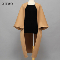 XITAO 2017 Autumn Early Winter Europe Fashion Women Casual Solid Color Original Design Cloak Loose