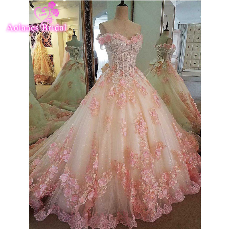 New Wedding Dress 2017 Sleeveless Vestido De Noiva Pink Flowers Ball Gown Plus Size Wedding Dresses Off The Shoulder Bridal