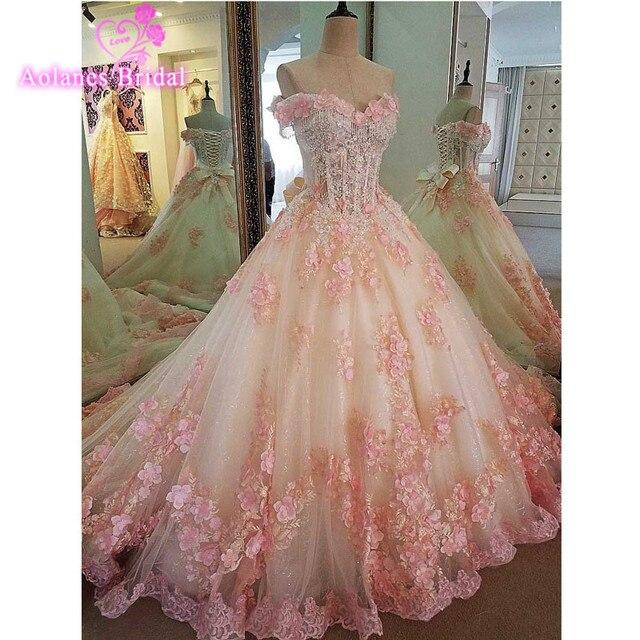 New Wedding Dress 2017 Sleeveless Vestido De Noiva Pink Flowers Ball Gown Plus Size Wedding Dresses Off The Shoulder Bridal
