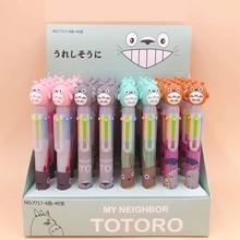 36 adet/grup Totoro 6 renk tükenmez kalem karikatür hayvan tükenmez kalem okul ofis yazma malzemeleri kırtasiye hediye