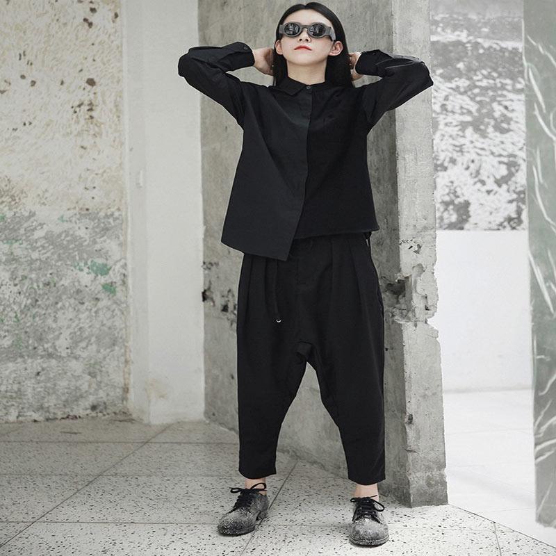 Automne Noir Femmes Tops Printemps Asymétrique À Femme Realshe Turn Chemises Col Longues Casual 2018 Patchwork Manches Shirt down xOqq76w