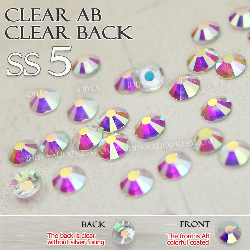 SS5 1440Pcs Clear AB Clear back naked Rhinestones nail glass accessoires all for DIY 3d nails manicure art Non hot fix crystals