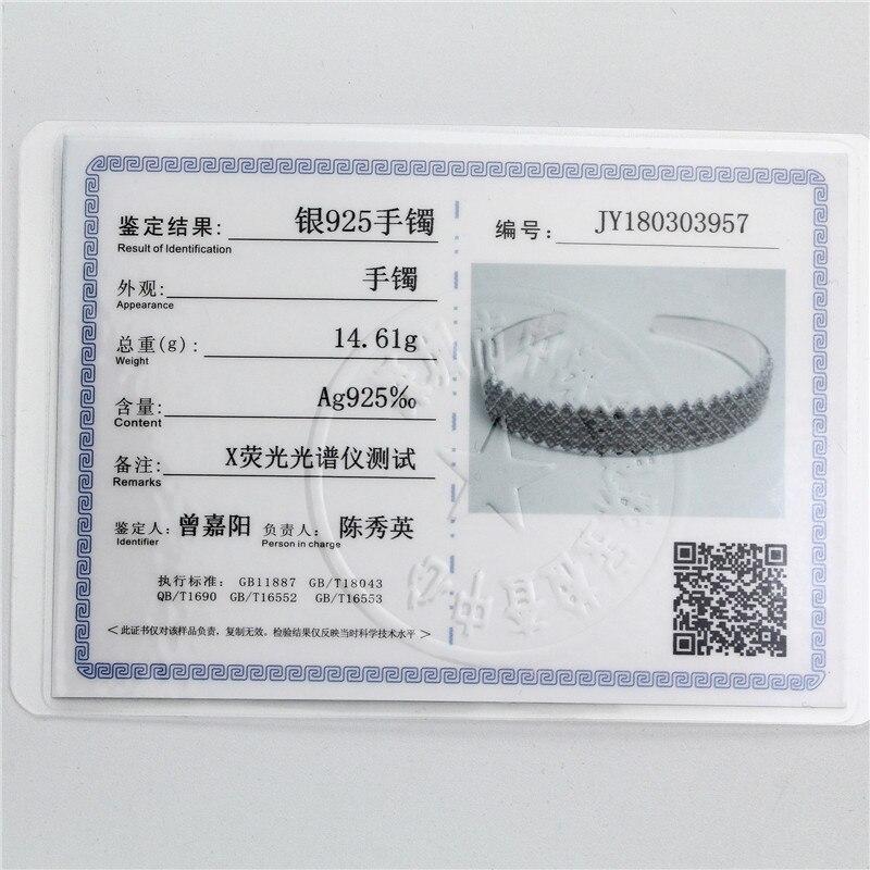 Retro 925 Silver Bangles for Women Cuff Bracelets