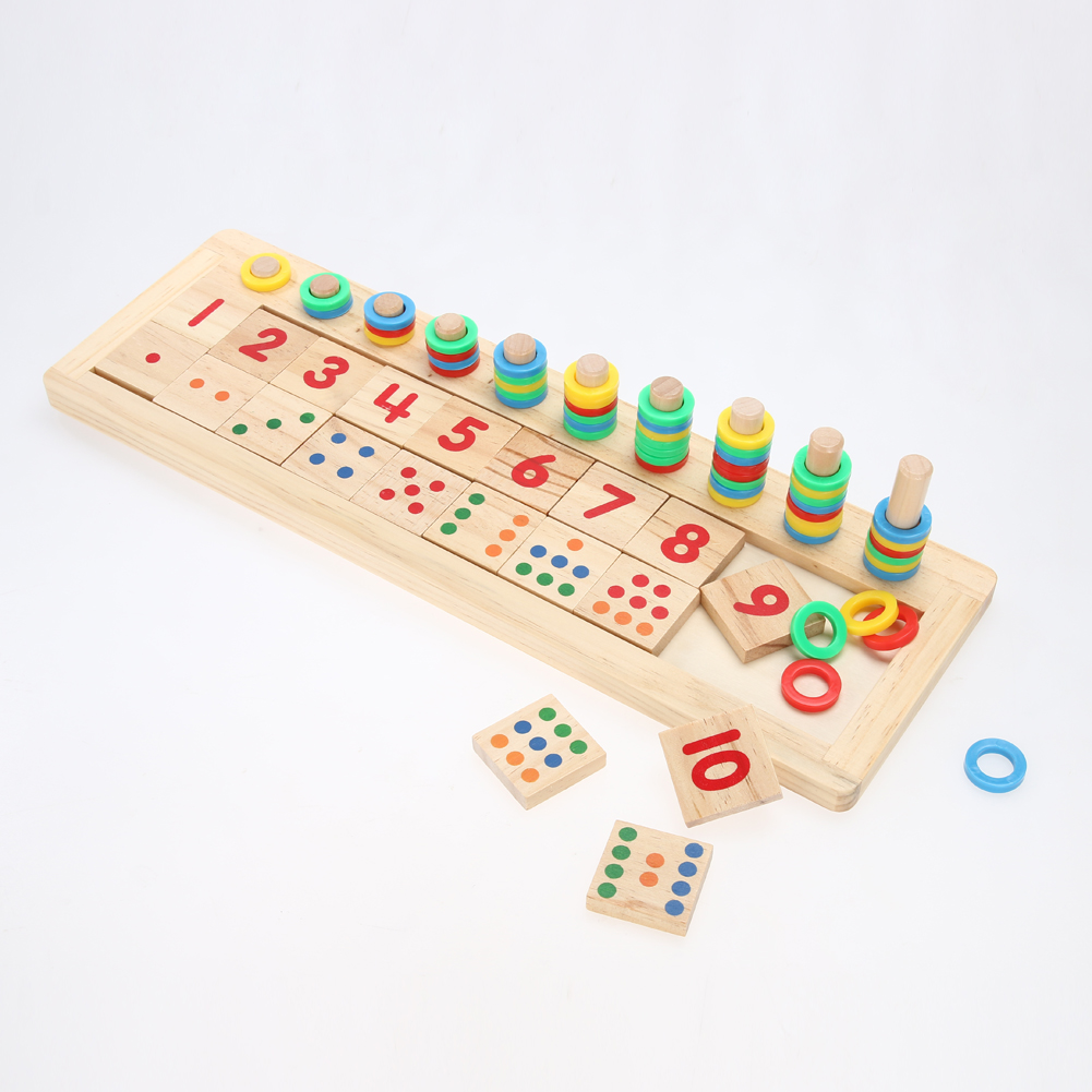 Wooden Ring Beads Pillars Matching Game Board Toy Kids Figures Number Counting Math Learning Early Educational Preschool Toy colorful number match game board kid figures counting math learning toy fun block board game wooden educational toy for children