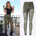 2016 New Fashion Army Green/Black/White Woman Sexy Ripped Jeans Plus Size High Waist Jeans Ladies Skinny Jean Taille Haute