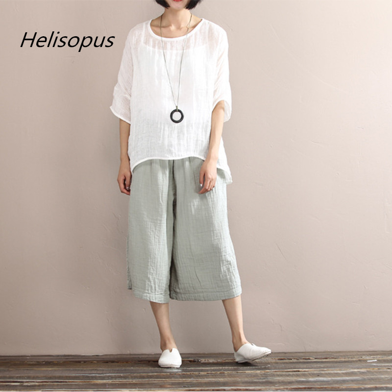Helisopus 2019 Autumn Cotton   Pants   Pink Green   Wide     Leg     Pants   Elastic Waist Loose Casual Trousers Female One Size Linen   Pants