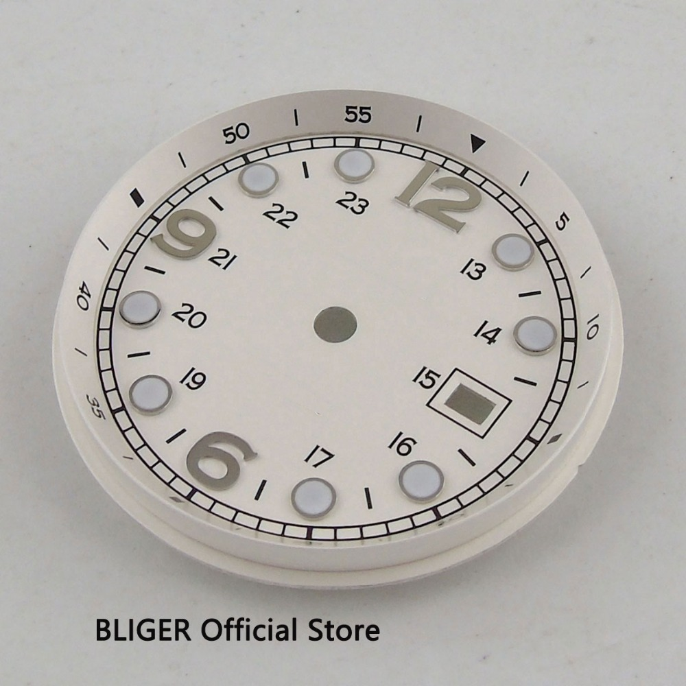 Fit For ETA 2824 2836 MIYOTA 8215 8205 Movement 33MM White Sterile Dial Date Window Luminous Marks Watch Dial D112