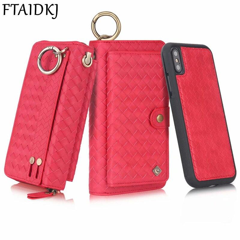 Multifunktions Gewebte Muster Leder Zipper Dame Brieftasche Fall Für iPhone 11 Pro Max XS Max XR X 7 6 6S 8 Plus Frauen Geldbörse Handtasche