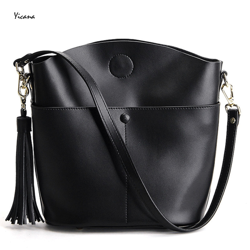 Yicana 2018 New Style Cow Leather Woman Handbag Fashion Tassels Bucket Shoulder Lady Small Solid Bag yeetn h new arrival fashion woman handbag shoulder