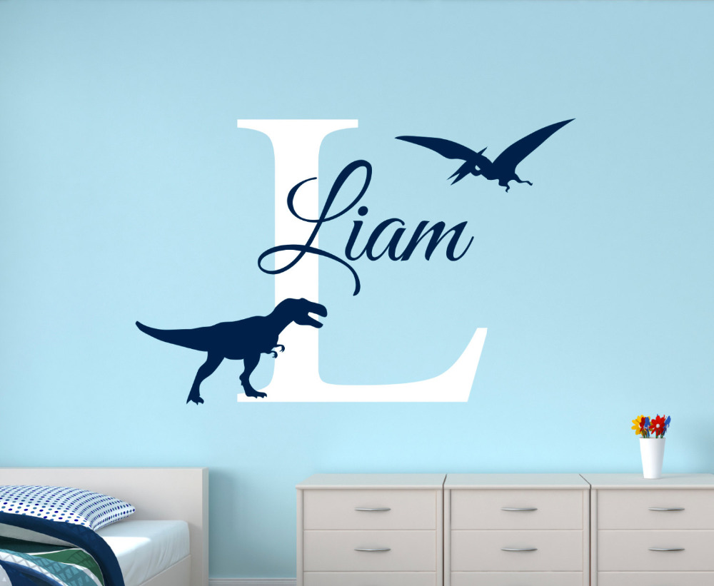 Customize Name Dinosaur Wall Decals For Boys Bedroom Kids Room Nursery Wall Art Stickers Personalized Name Baby Wall Decals JW26