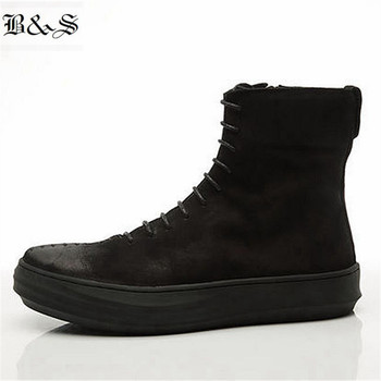 Black& Street High End Handmade sew Line Lace Up Black ankle Boot Retro Punk Rock Street Fashion Boot