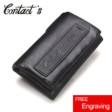 Genuine Cow Leather Mini Key Wallets Brand Trifold Design Zipper Coin Bag Purse With Interior Key Chain Holder Housekeeper Case(China)
