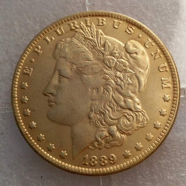 U.S. Coins 1889-CC Morgan Dollar Gold-Plated Coin High Quality Freeshipping Copy coins replica coins home decoration accessories