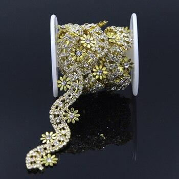 10Yards Rhinestone Trim Flowers Embellishment Applique Sew on Trimming Chain Sewing Craft