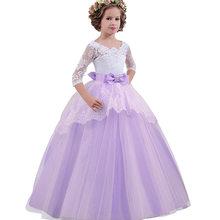 ec6cbbea3a4 От 5 до 14 лет белое детское свадебное платье для девочки-подростка  праздничная одежда кружевная Принцесса Костюм длинное вечерн.