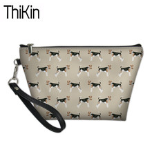THIKIN women Cosmetic Cases for Make Up Wire Fox Terriers Dog Printed Ladies Portable Box Travel Organizer Wash Kit Bags