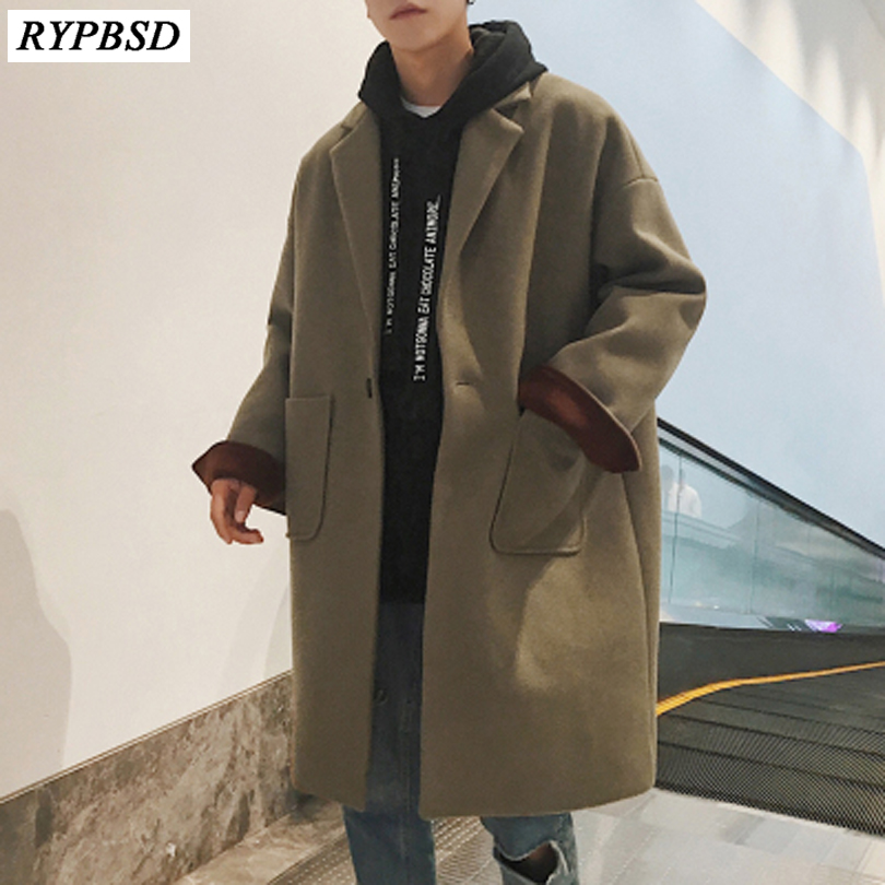 New 2019 Men Autumn Winter Woolen Coat Overcoats Jacket Men's Casual Korean Fashion Loose Large Size Windbreaker Outwear Coat