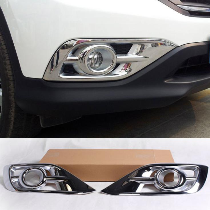 For honda crv cr v 2012 2013 2014 car styling chrome front full fog light covers trims bezel fit for 2014 honda cr v exterior accessories
