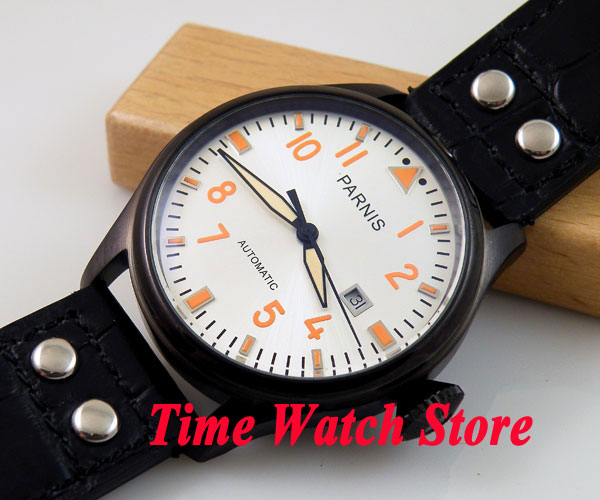 Parnis watch 47mm white dial PVD case black leather strap Automatic movement men's watch 104 mini focus starry business women watch rhinestone sandy dial round case genuine leather strap quartz movement lady wristwatches